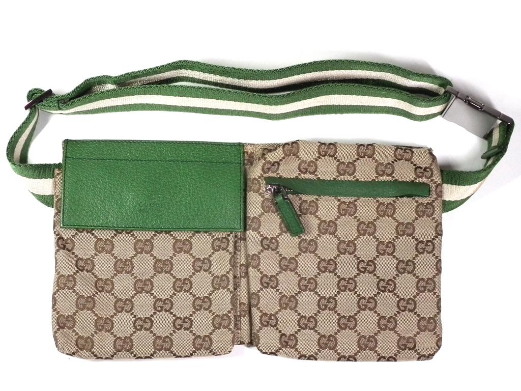 55e5f0b5c750 Gucci GG pattern bum-bag belt bag GG men waist porch body bag beige green  ...