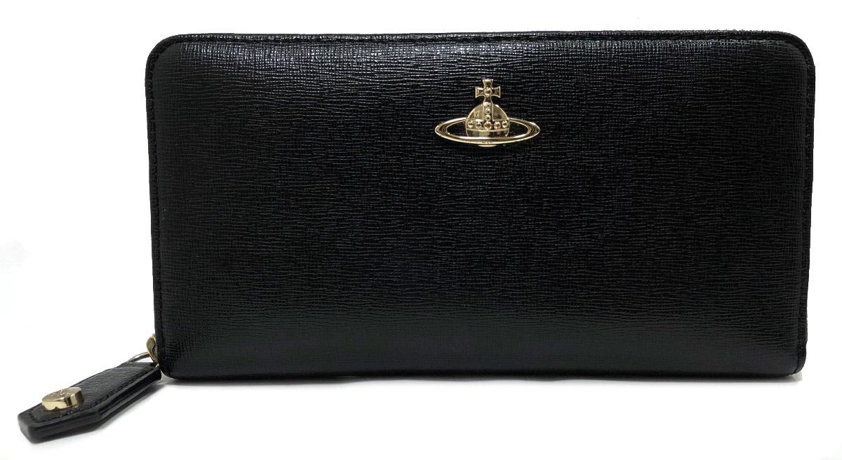 ヴィヴィアンウエストウッド 長財布 ラウンドファスナー ブラック 黒 良好 財布 型押し レザー メンズレディース Vivienne Westwood 【中古】
