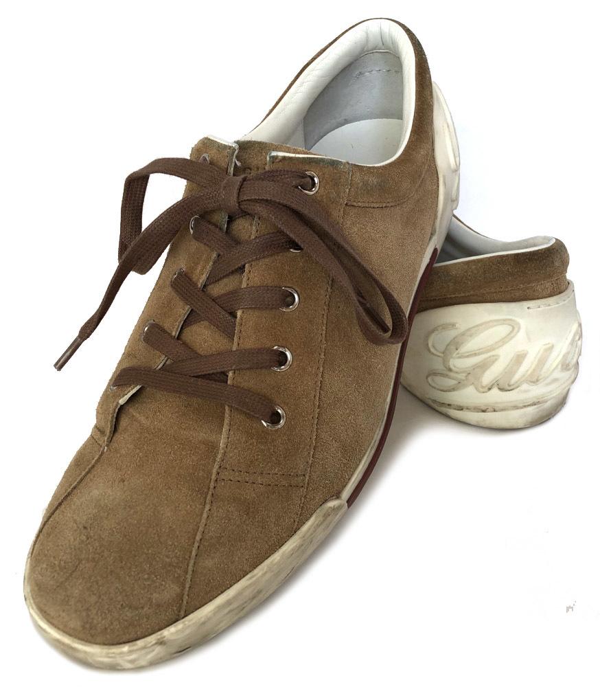 グッチ 靴 スニーカー スエード メンズ 7 ブラウン 茶色 約26cm 紳士用 GUCCI ロゴ入り 男性用 レザー 【中古】
