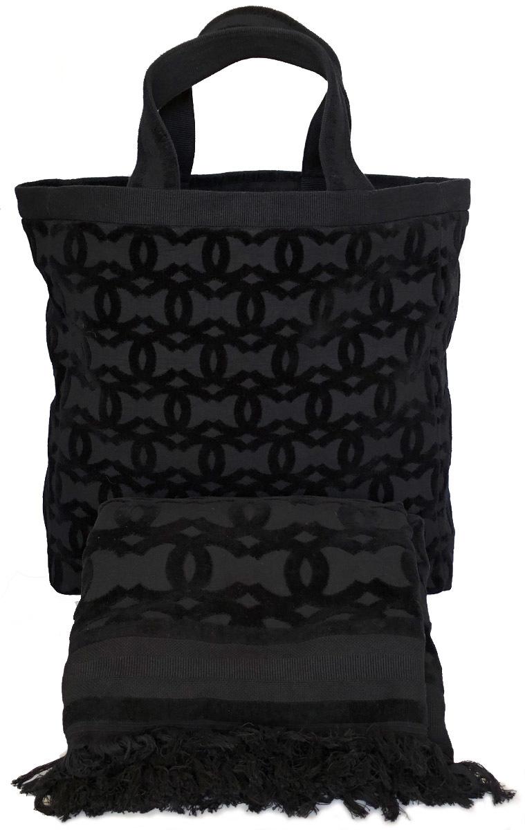 8773b2fff996 Unused Chanel University grain tote bag towel set beach bag towel blanket  black black here Mark ...