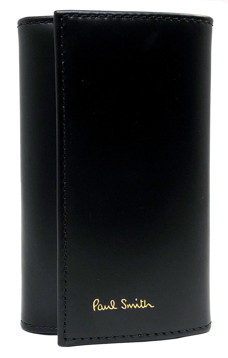 未使用 ポールスミス キーケース レザー 6連 AUXC 1981 W761A ピンストライプ ITALY製 シグネチャーストライプ Paul Smith メンズ 紳士用 6連キーケース 【中古】