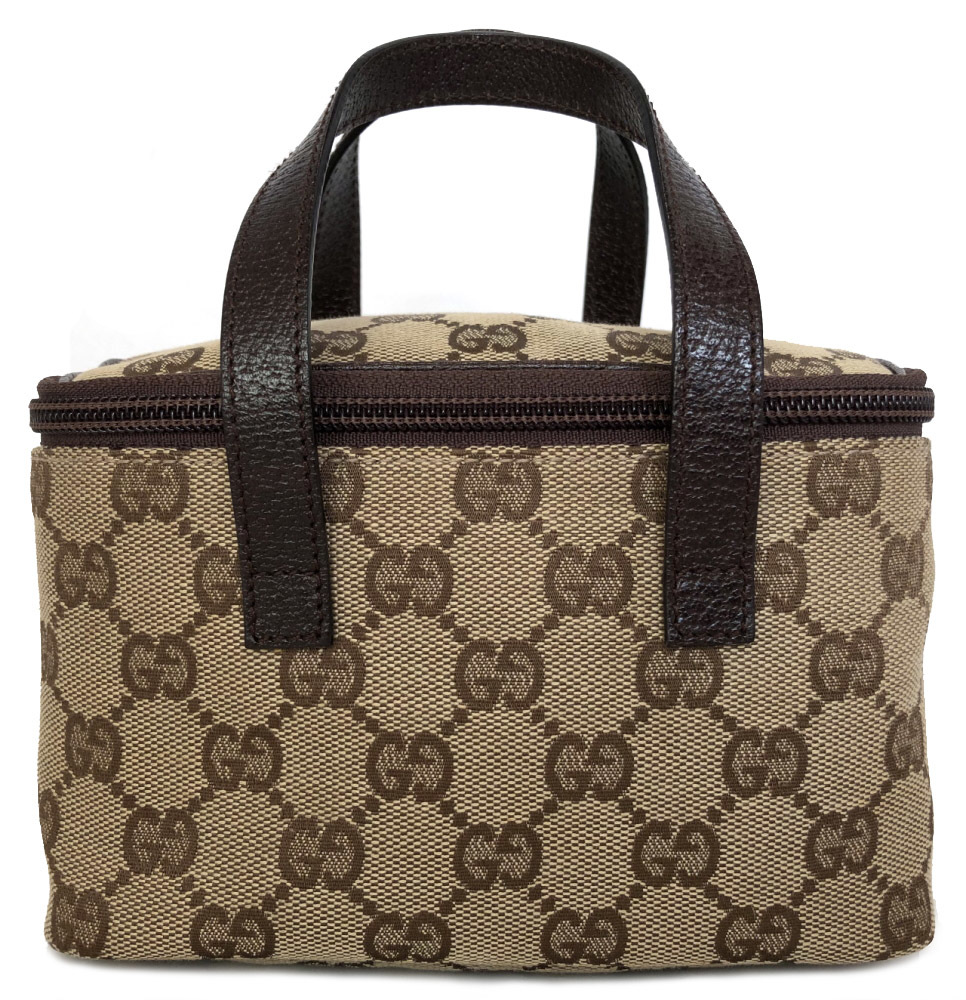 c6e38985cc64 Like-new Gucci handbag makeup porch hand porch 124539 beige brown cosmetics  porch mini- ...