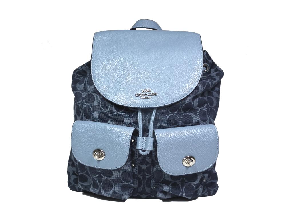 dc6de914e90 Like-new coach rucksack denim signature rucksack backpack Lady's navy  F25892 COACH dark blue denim ...