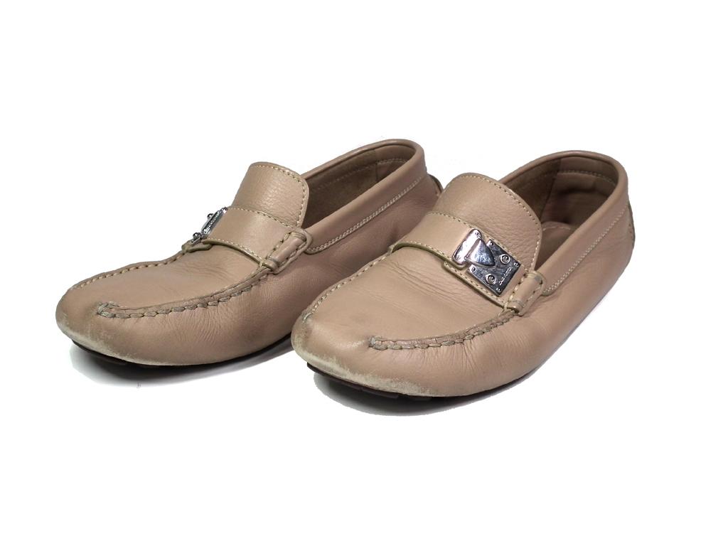 ルイヴィトン メンズ シューズ ローファー ドライビングシューズ 靴 レザー ベージュ ロゴ金具 5 1/2 約25cm LV ビトン LOUIS VUITTON ルイ・ビトン ルイ・ヴィトン 【中古】