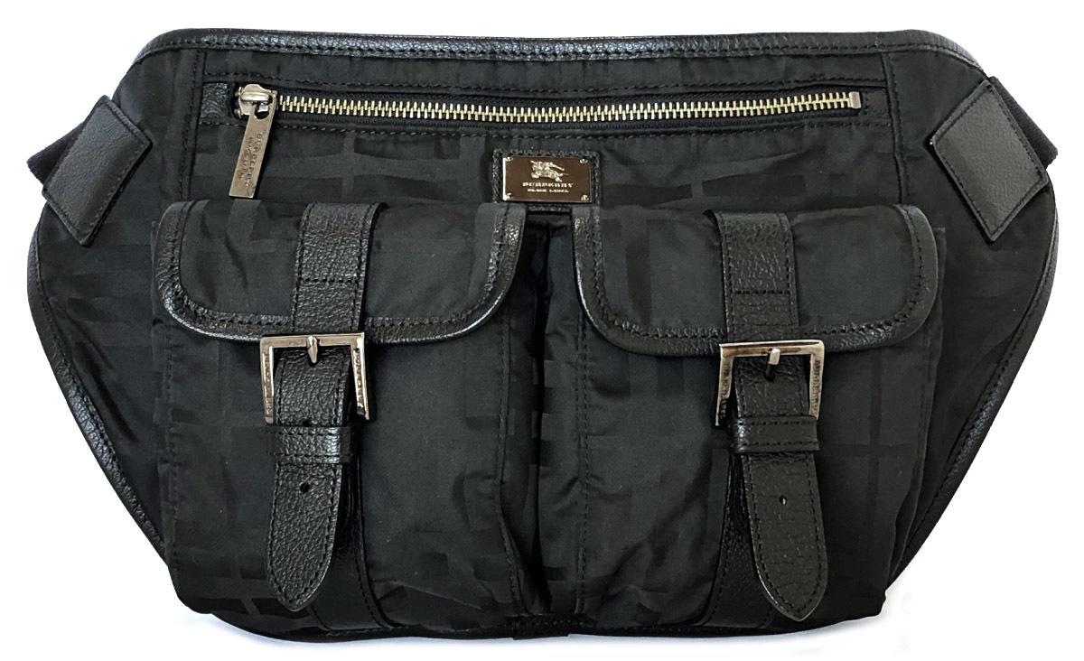 Belt bag BURBERRY for the Burberry black label bum-bag body bag check black  black nylon canvas leather men gentleman