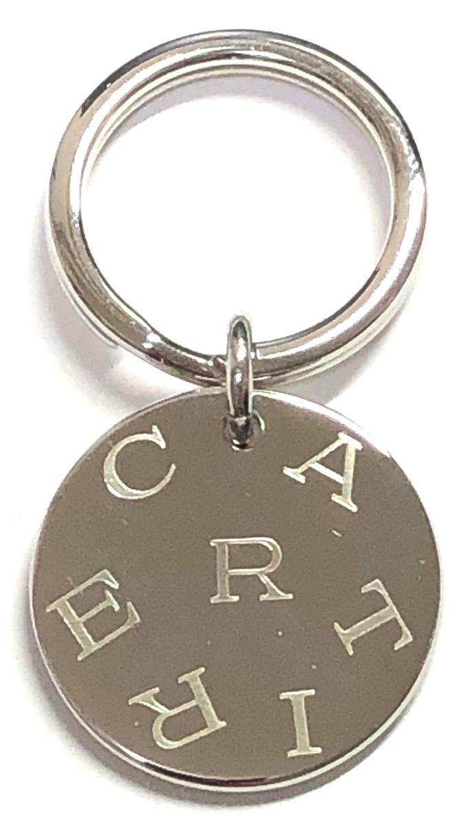 カルティエ ロゴ キーリング キーホルダー シルバー メンズ レディース バッグチャーム 美品 Cartier CARTIER 【中古】