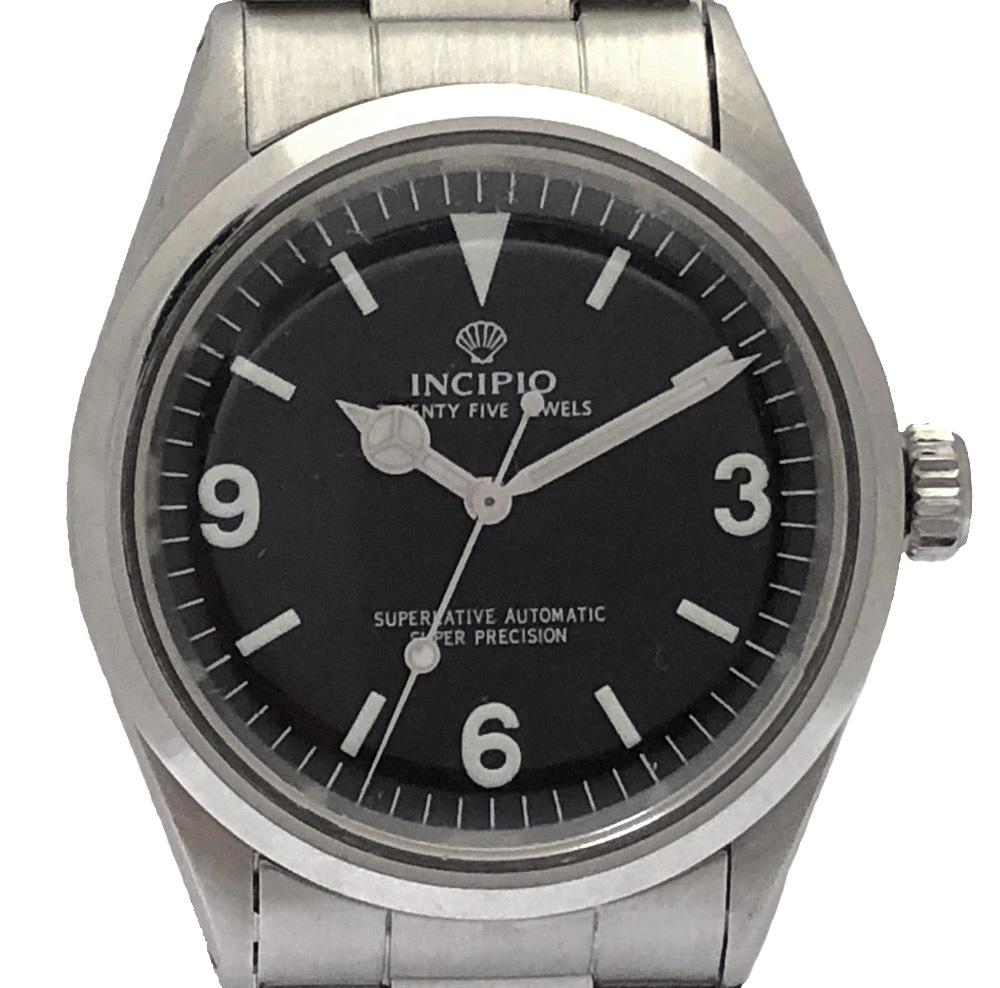 インキピオ 腕時計 1016モデル INCIPIO INCIPIO8 EX1タイプ エクスプローラー1 限定品 時計 自動巻 SS インキピオー メンズウォッチ 黒文字盤 シルバー SS 【中古】
