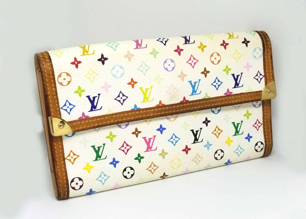 3d4d7562bf55 Louis Vuitton multicolored long wallet ポルトトレゾールインターナショナルブロン wallet M92659  monogram Lady s white white LV Vuitton LOUIS VUITTON Louis ...