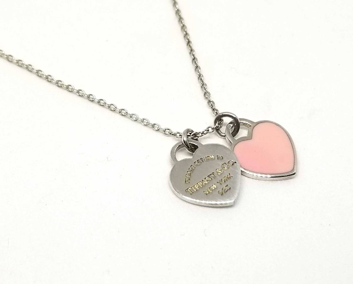 1431024bb Return toe Tiffany double heart tag pendant necklace pink TIFFANY sterling  silver ...