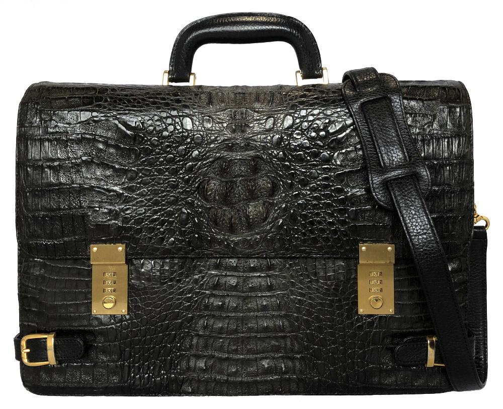 クロコダイル カイマン 2WAY ワニ革 ブリーフケース ビジネスバッグ ブラック 黒 書類かばん メンズ クロコ ショルダーバッグ 書類カバン 書類鞄 ゴールド金具 紳士用 クロコレザー 【中古】