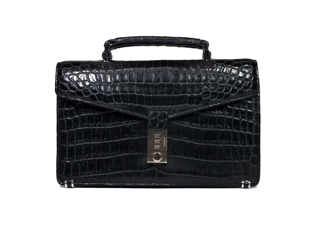 bcbed7587e Crocodile second bag handbag dispatch case briefcase business bag black  black men s crocodile leather men carrier deposit steering wheel
