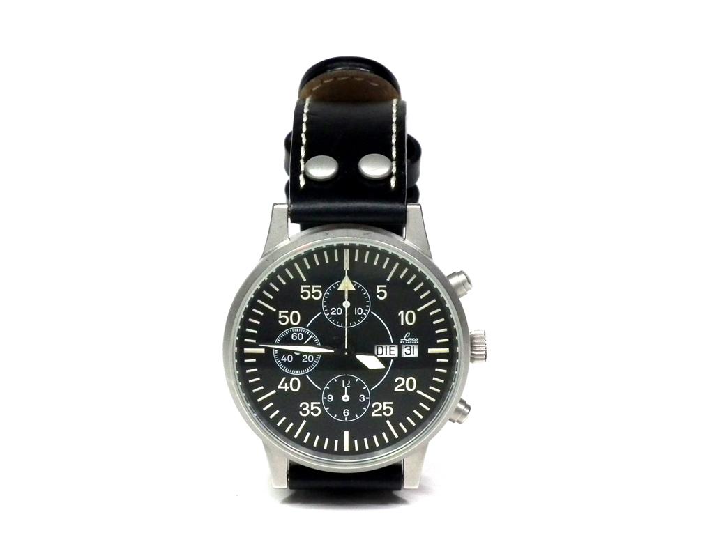 ラコ 腕時計 Laco 時計 クロノグラフ メンズ ウォッチ デイデイト ETA7750 自動巻 裏スケルトン メンズ ブラック 黒  【中古】