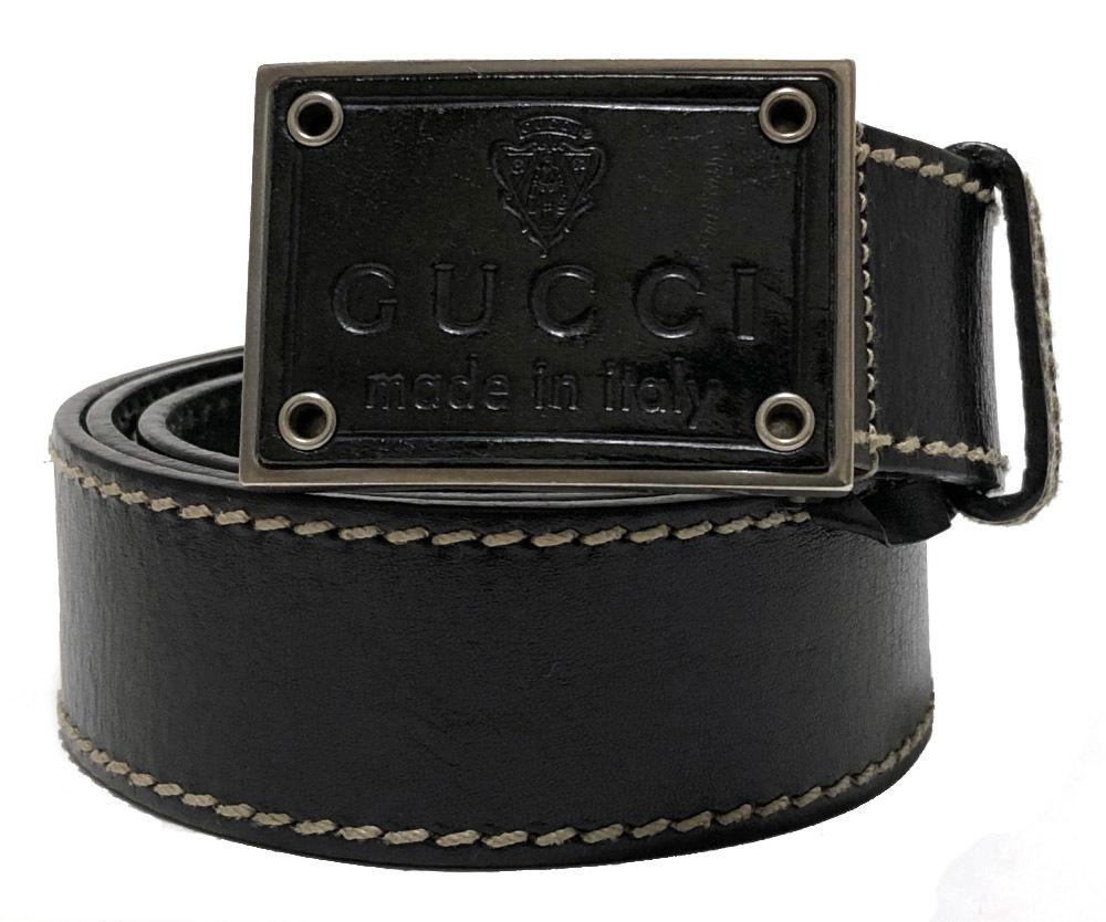 グッチ ベルト 85cm ロゴ クレスト ブラック 黒 紋章 メンズ レディース レザー 本革 189809 GUCCIレザーバックル 【中古】