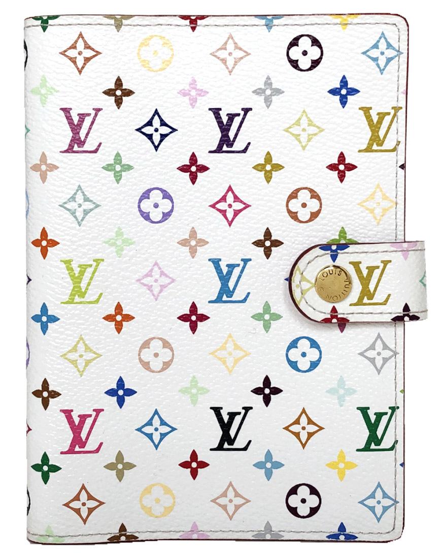 新品同様 ルイヴィトン マルチカラー アジェンダPM ホワイト ピンク R21074 手帳カバー ブロン システム手帳 LOUIS VUITTON ルイ・ビトン ルイ・ヴィトン 【中古】
