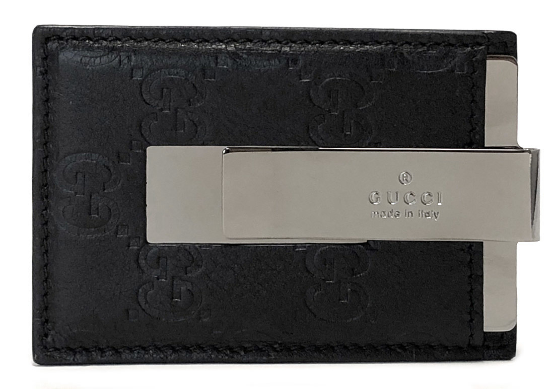 b333bde7f86 Like-new Gucci leather card case money clip GG card case Gucci sima men  GUCCI 115268 black black sima leather pass holder