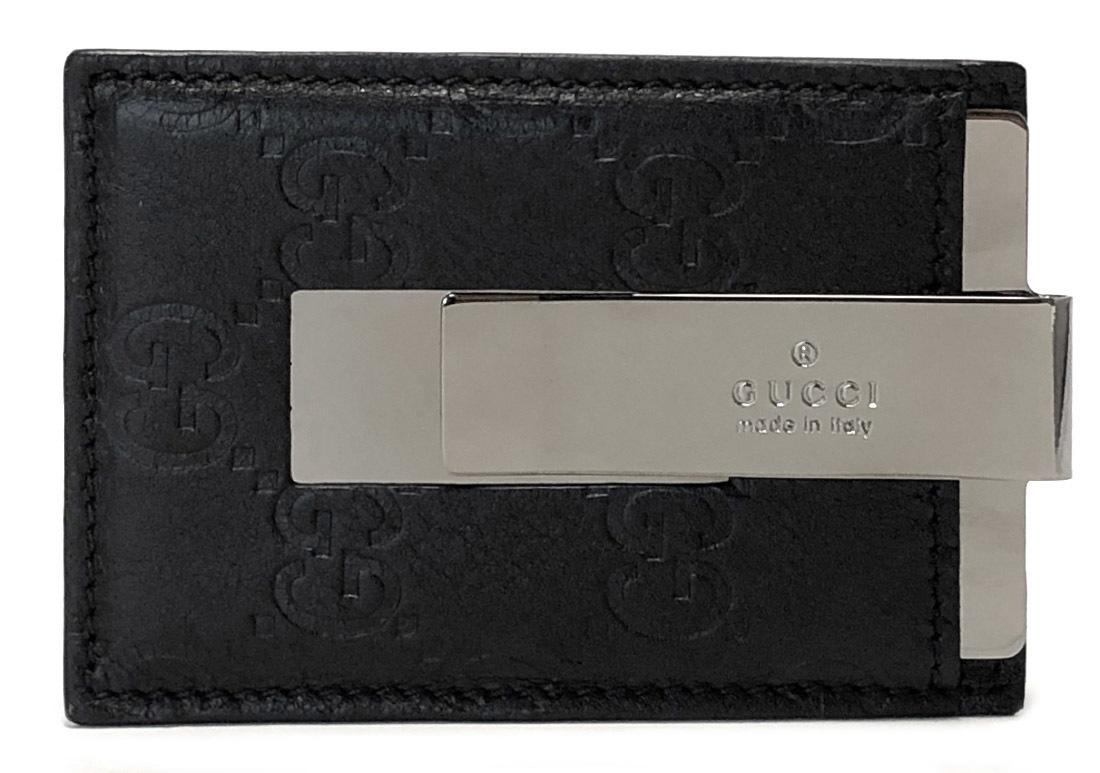 57dab6afad Like-new Gucci leather card case money clip GG card case Gucci sima men  GUCCI 115268 black black sima leather pass holder