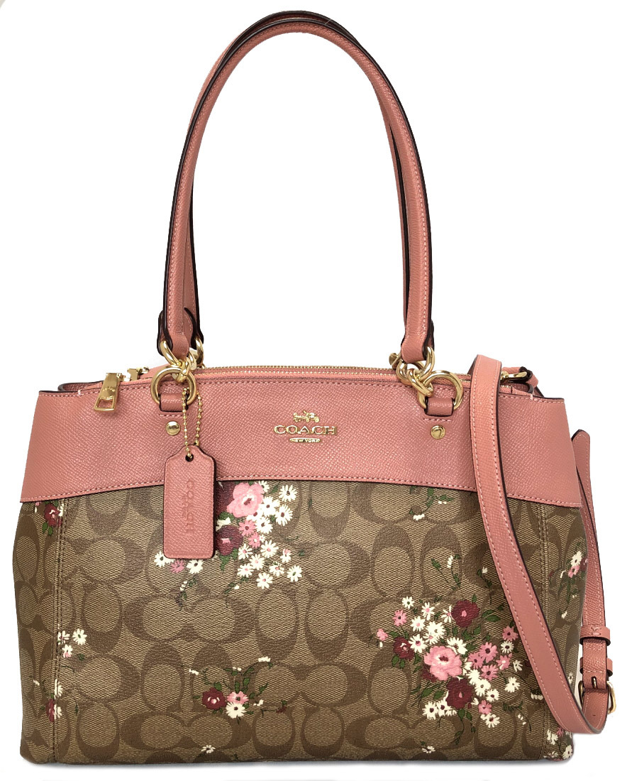 d1b78d5013 Coach 2WAY shoulder bag tote bag signature floral design flower Brooke  beige pink F28963 beauty product COACH handbag Lady's