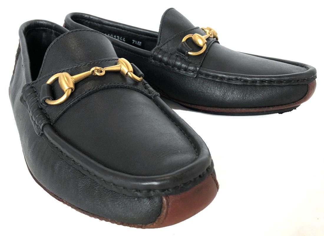 グッチ 靴 レザー ホースビット ローファー ドライビングシューズ ブラウン ブラック 黒 ゴールド金具 ビジネスシューズ 革靴 メンズ 7 1/2 GUCCI 紳士用 【中古】