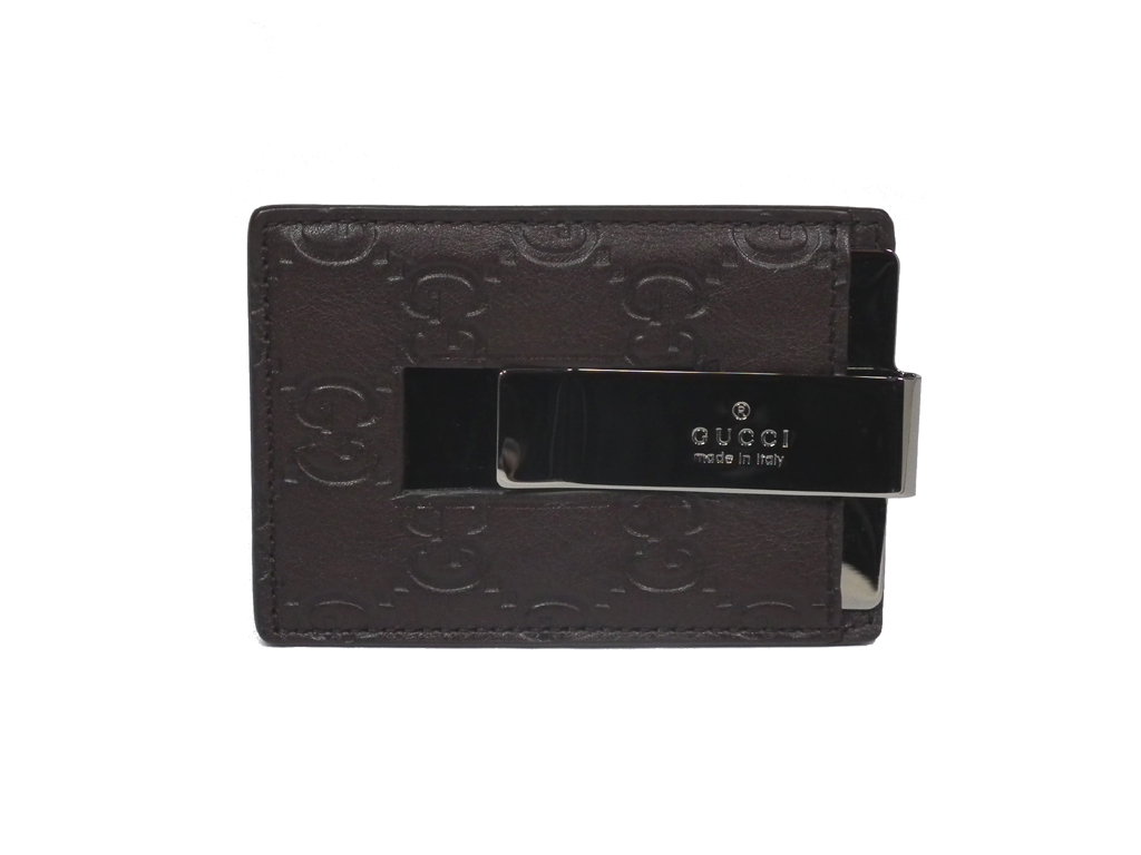 670c49513682 新品同様 グッチ レザー カードケース マネークリップ GG 名刺入れ グッチシマ メンズ GUCCI 115268 ダークブラウン