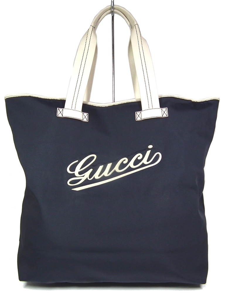 4b7183b8f9cc78 Gucci tote bag shopping bag 170604 flowing script logo nylon canvas navy  men gap Dis University grain GUCCI