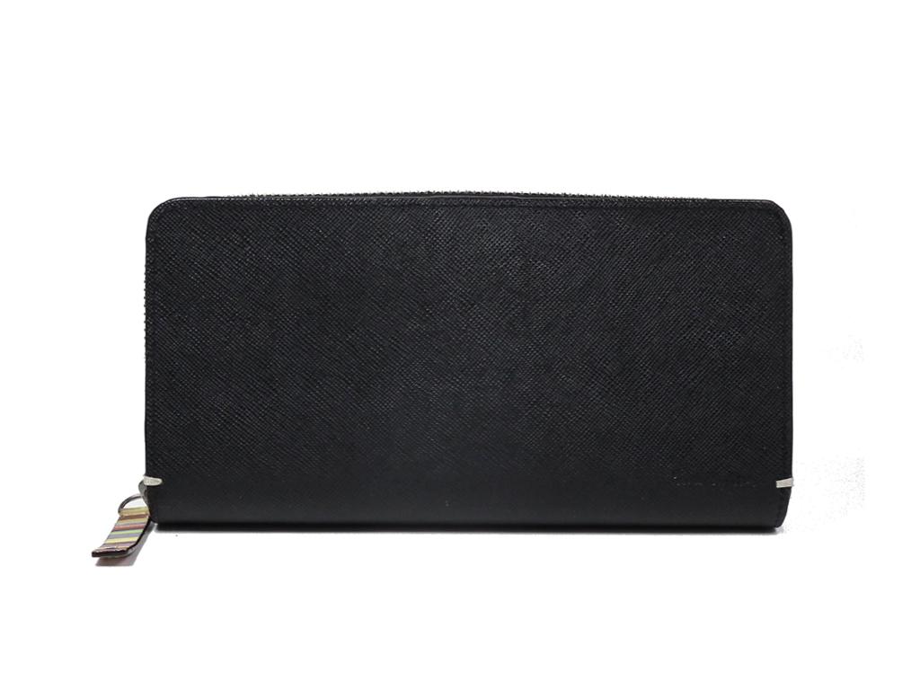 ポールスミス 財布 ラウンドファスナー 二つ折り 型押し レザー 長財布 ブラック 黒 ジップアラウンド Paul Smith  【中古】
