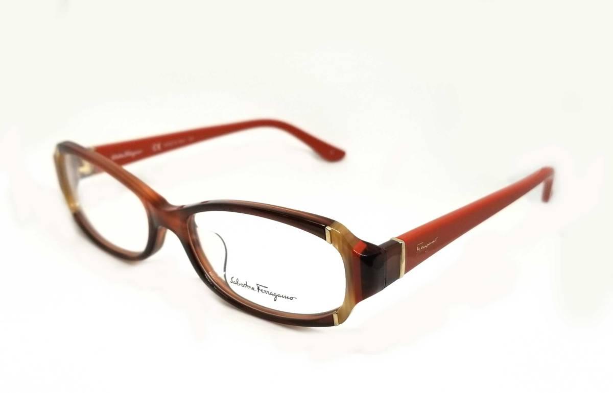 未使用 フェラガモ メガネブラウン レッド めがね フレーム 眼鏡 ロゴ メガネフレーム レディース 細身 伊達メガネ めがねフレーム 眼鏡フレーム FERRAGAMO 【中古】