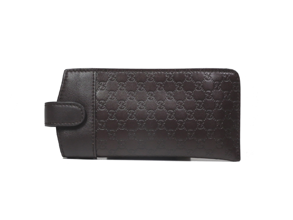 official photos a7852 02751 Like-new Gucci glasses case leather Gucci sima GG genuine leather men gap  Dis dark brown brown glasses case glasses case GUCCI