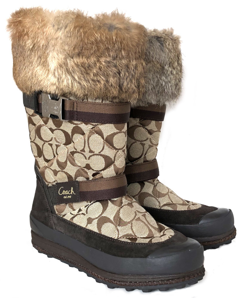 1129a54007012 Coach signature boots Lapin fur boots 8 1/2 Lady's 25.5cm fur COACH shoes  beige dark brown canvas suede cloth beauty product brown