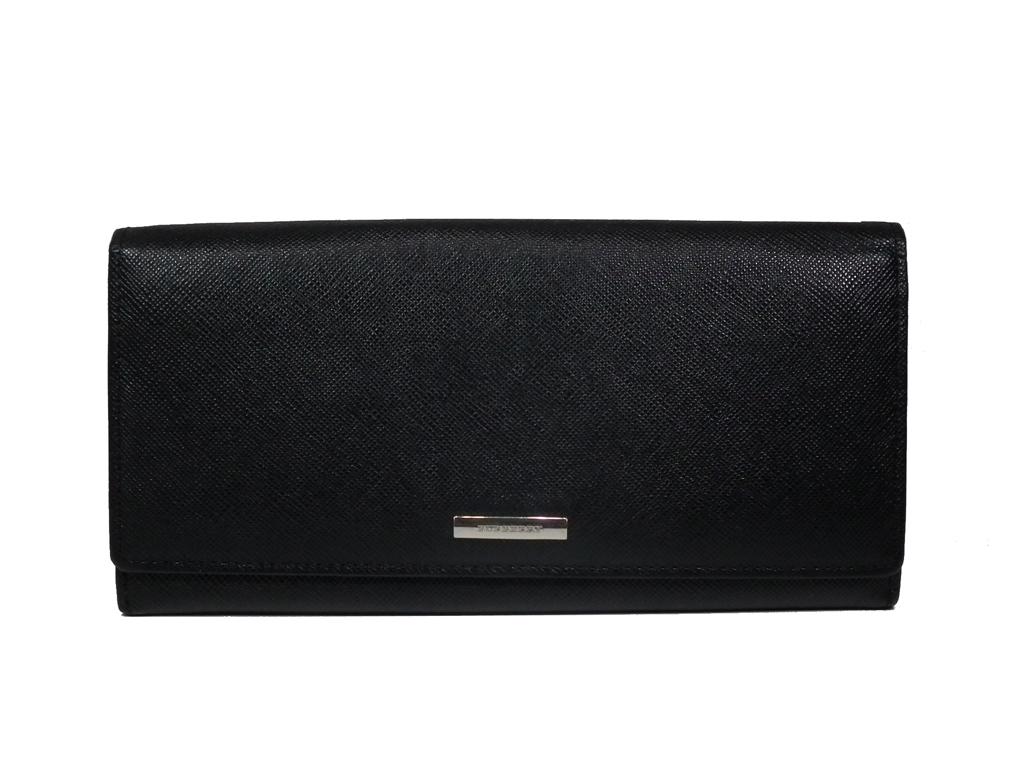 良好 バーバリー 財布 二つ折り 長財布 型押し レザー ブラック 黒 メンズ ノバチェック 紳士用 BURBERRY 本革  【中古】