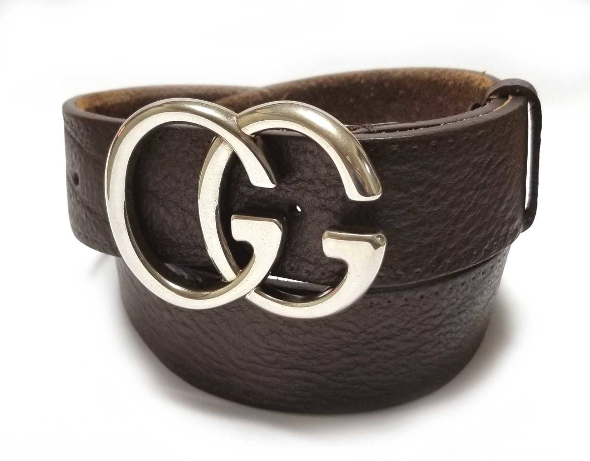 36605d51a Gucci belt double G buckle leather 85cm dark brown brown genuine leather GG  brown 259982 GUCCI