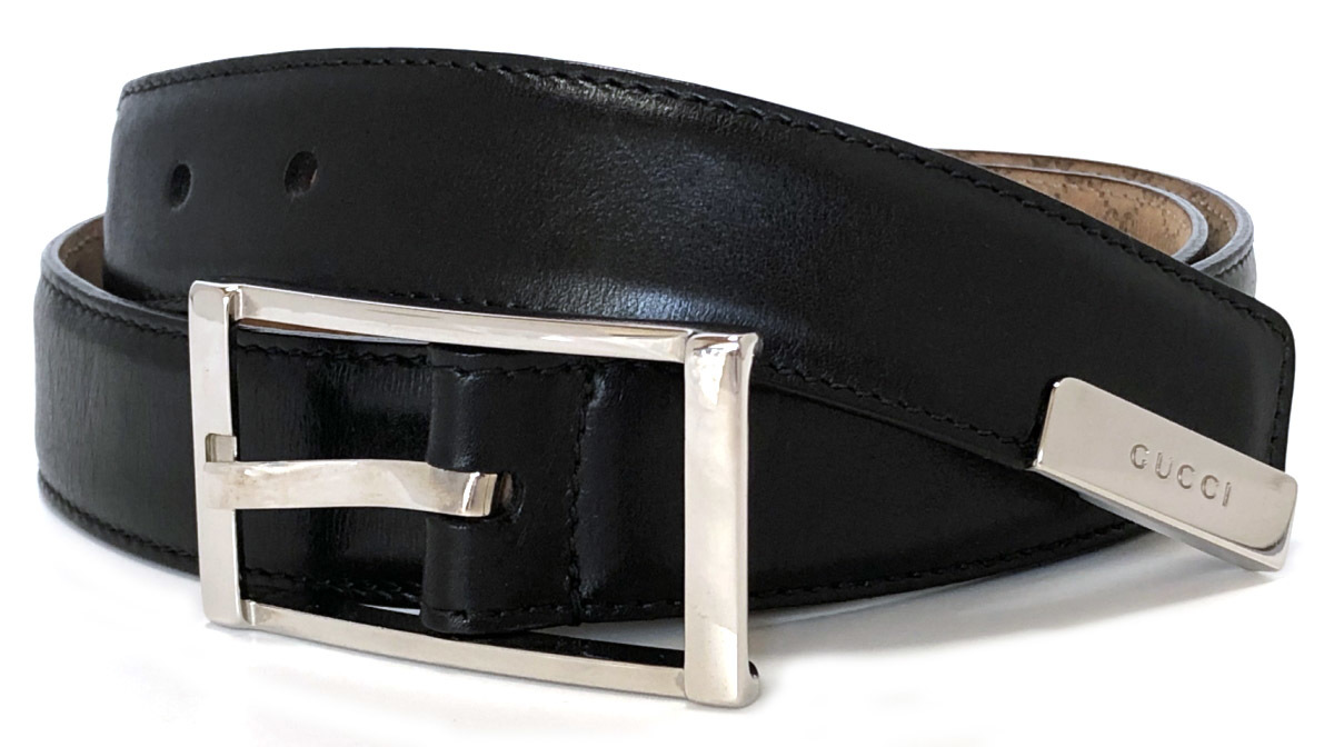 24c56875c99 Gucci belt men gap Dis 80cm black black leather logo 268239 silver buckle GUCCI  black man and woman combined use