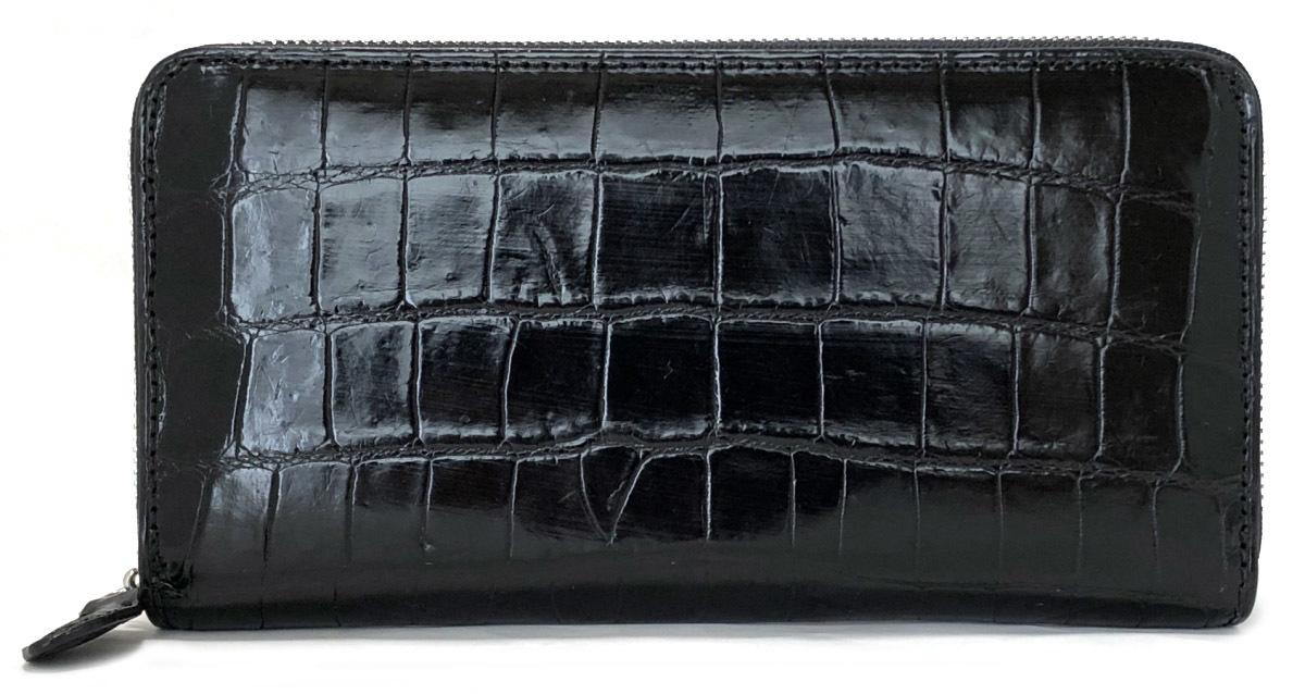 未使用 クロコダイル 長財布 ラウンドファスナー ジップアラウンド 財布 ブラック 黒 本革 メンズ 紳士用 レザ- クロコレザー 【中古】