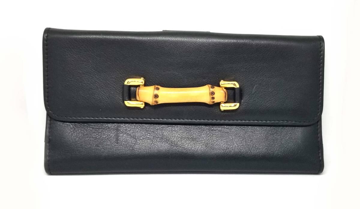 グッチ 長財布 レザー バンブー 財布 ブラック 黒 レディース 035・661 1863 0 Wホック 二つ折り財布 二つ折り長財布 GUCCI 【中古】