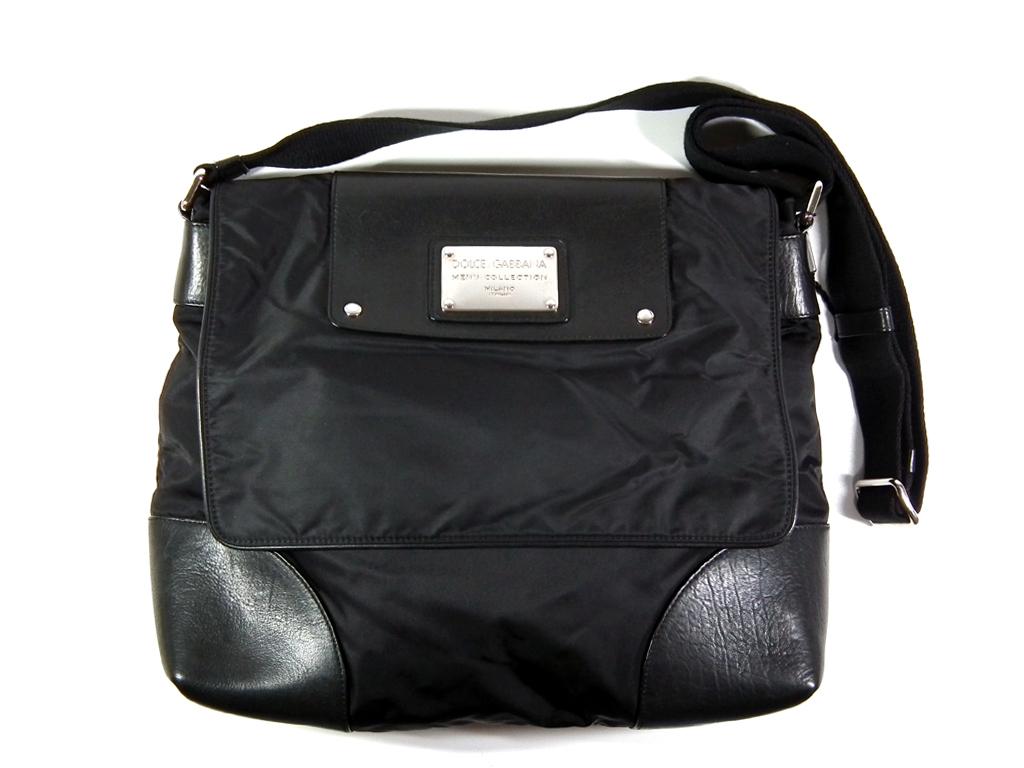 46131515a1e Dolce & Gabbana shoulder bag messenger bag nylon canvas plate black  leather men gap Dis ...