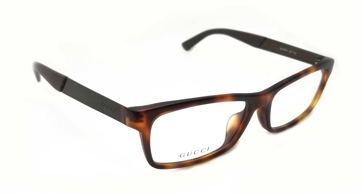 未使用 グッチ メガネ 眼鏡 めがね フレーム べっ甲柄 ブラウン メンズ レディース ロゴ メガネフレーム GUCCI めがねフレーム 眼鏡フレーム 【中古】