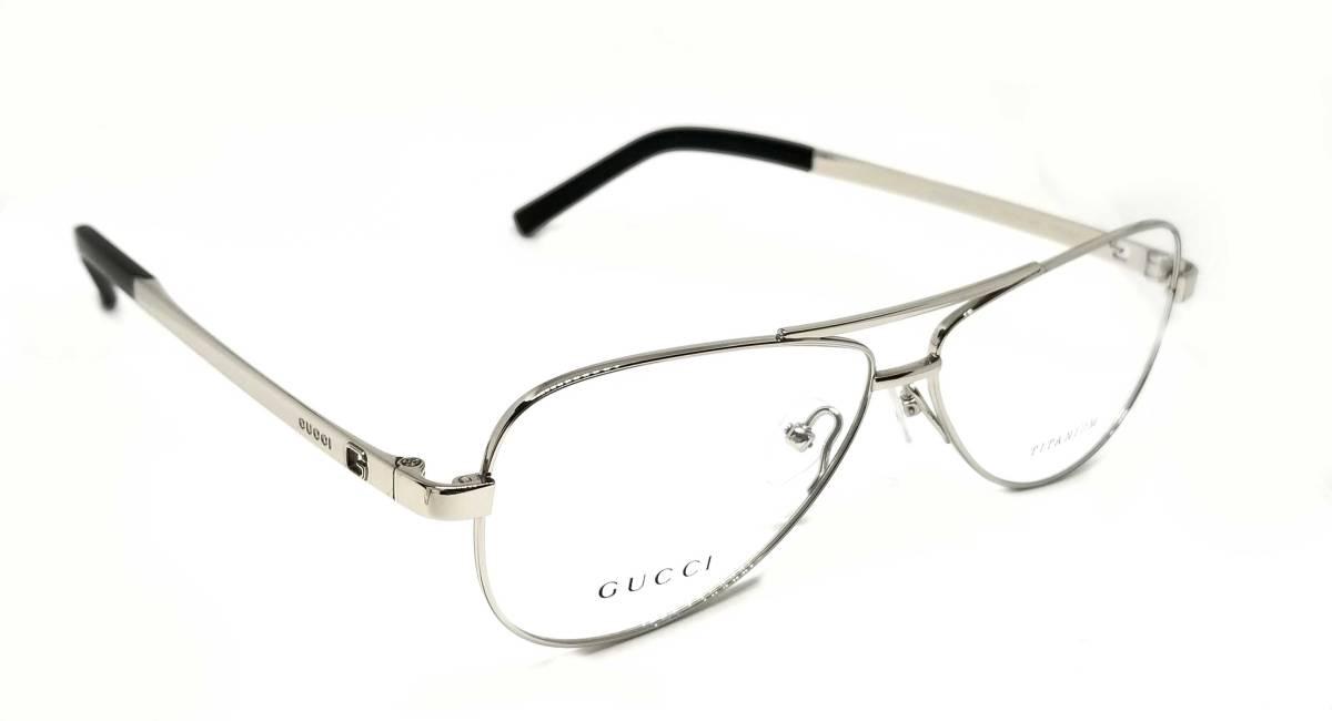 未使用 グッチ メガネ 眼鏡 めがね フレーム シルバー チタニウム TITANIUM メンズ レディース ロゴ チタン メガネフレーム GUCCI めがねフレーム 眼鏡フレーム 【中古】