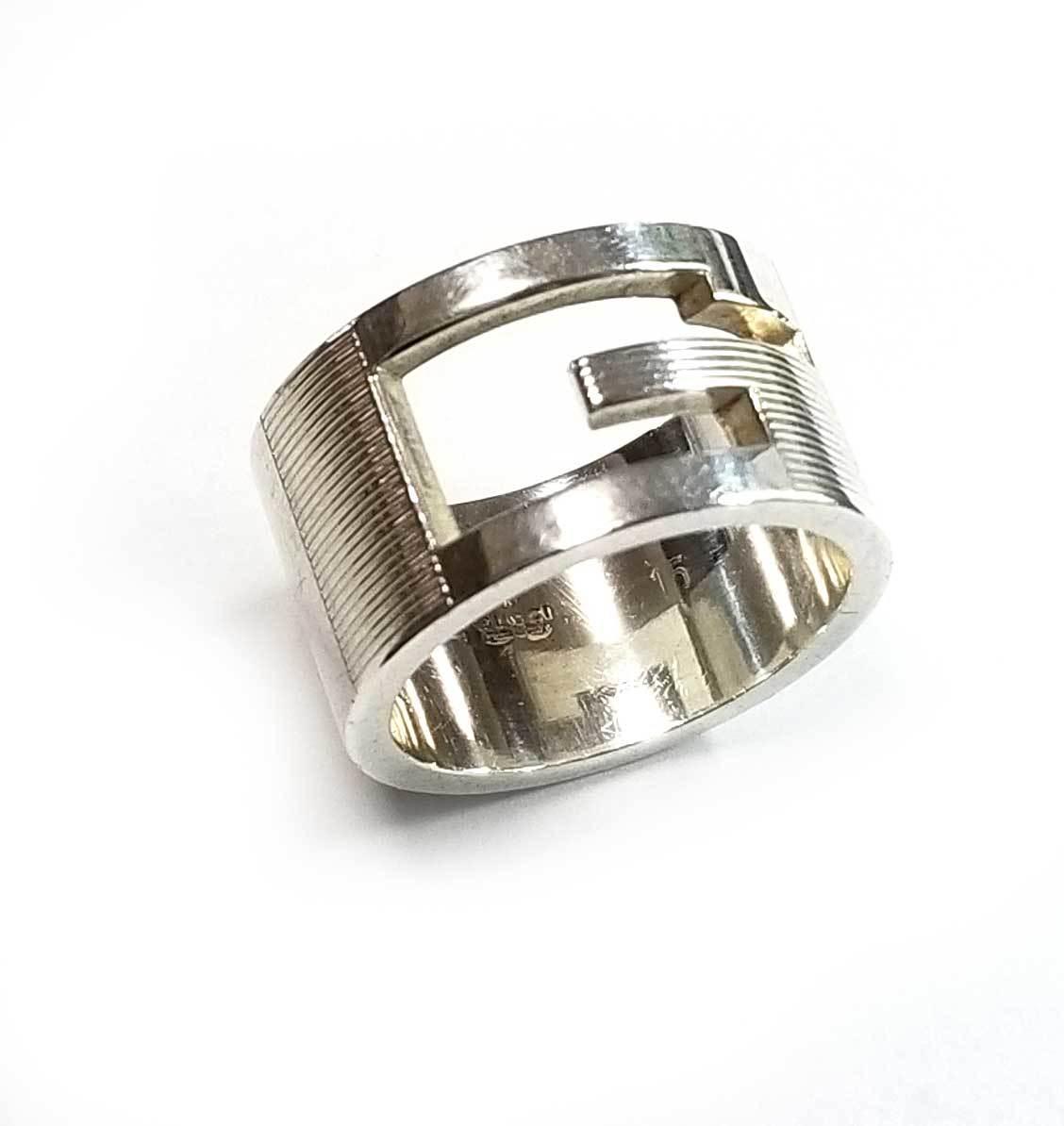 グッチ リング 指輪 Gリング 15 約14号 シルバー レディース メンズ カットアウト Gモチーフ ブランテッドGリング SV925 GUCCI 【中古】