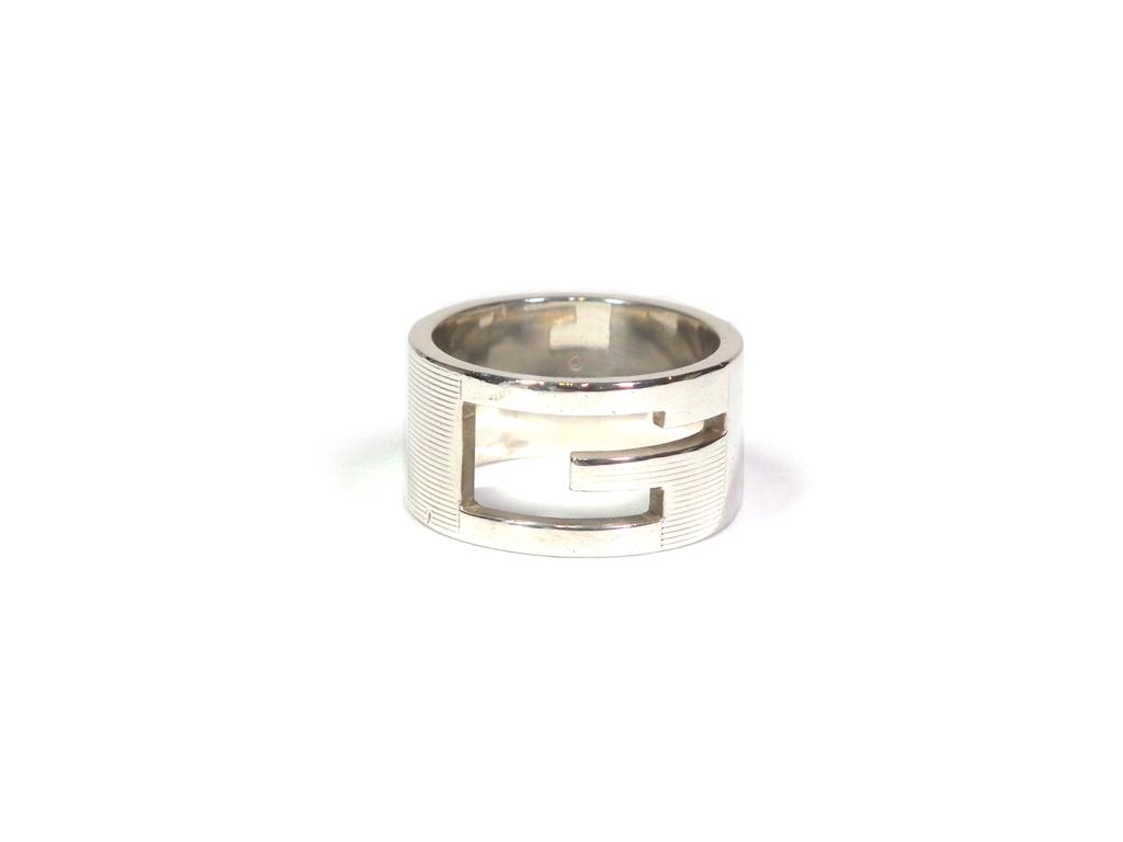 グッチ リング 指輪 Gリング #20 シルバーリング ブランテッドGリング メンズ 紳士用 カットアウトG 19号 大きめ シルバーアクセ SV925 【中古】