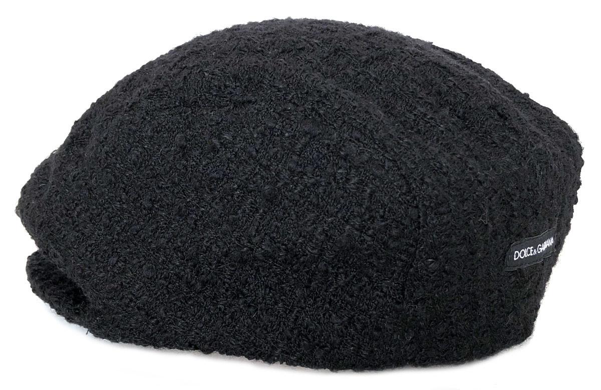 ドルチェ&ガッバーナ ハンチング ロゴ 帽子 ハンチング帽 メンズ レディース ブラック 黒 ツイード DG ドルガバ D&G DOLCE&GABBANA 【中古】