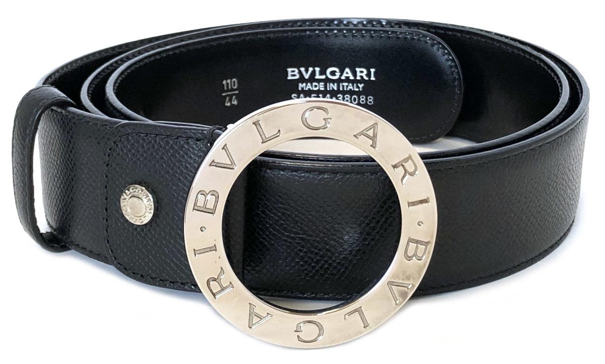 ace61cbb3775 ブルガリ ベルト ブラック 黒 100cm レザー ブルガリブルガリ メンズ 本革 シルバーバックル 型押し BVLGARI