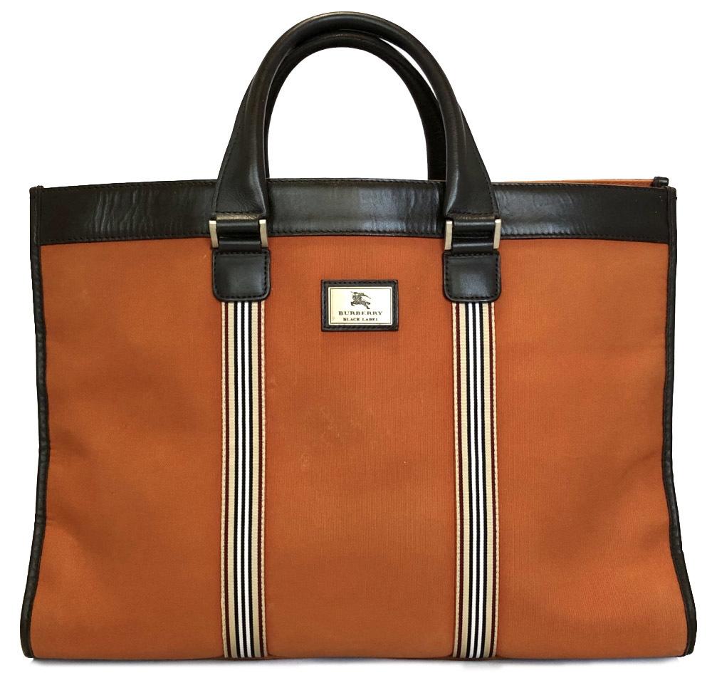 08c6c24802cf Burberry black label business bag leather canvas briefcase dispatch case  business case briefcase check men BURBERRY orange dark brown