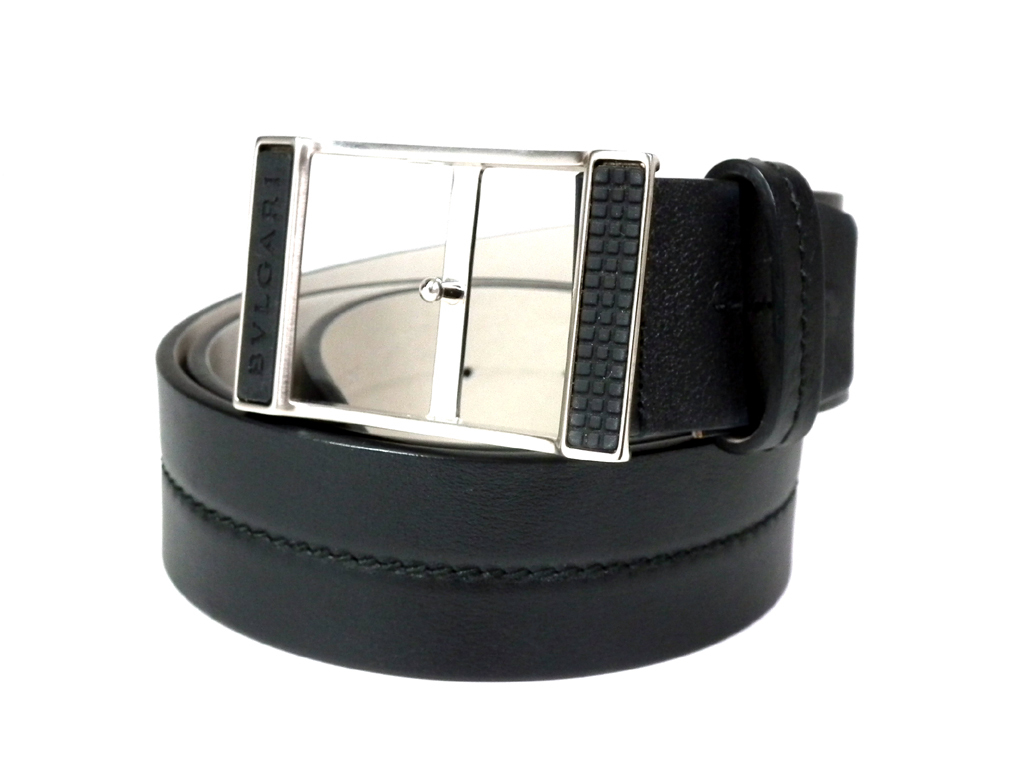 ブルガリ ベルト レザー ブラック 33983 黒 80cm~93cm メンズ シルバー ロゴバックル 紳士用 BVLGARI 【中古】