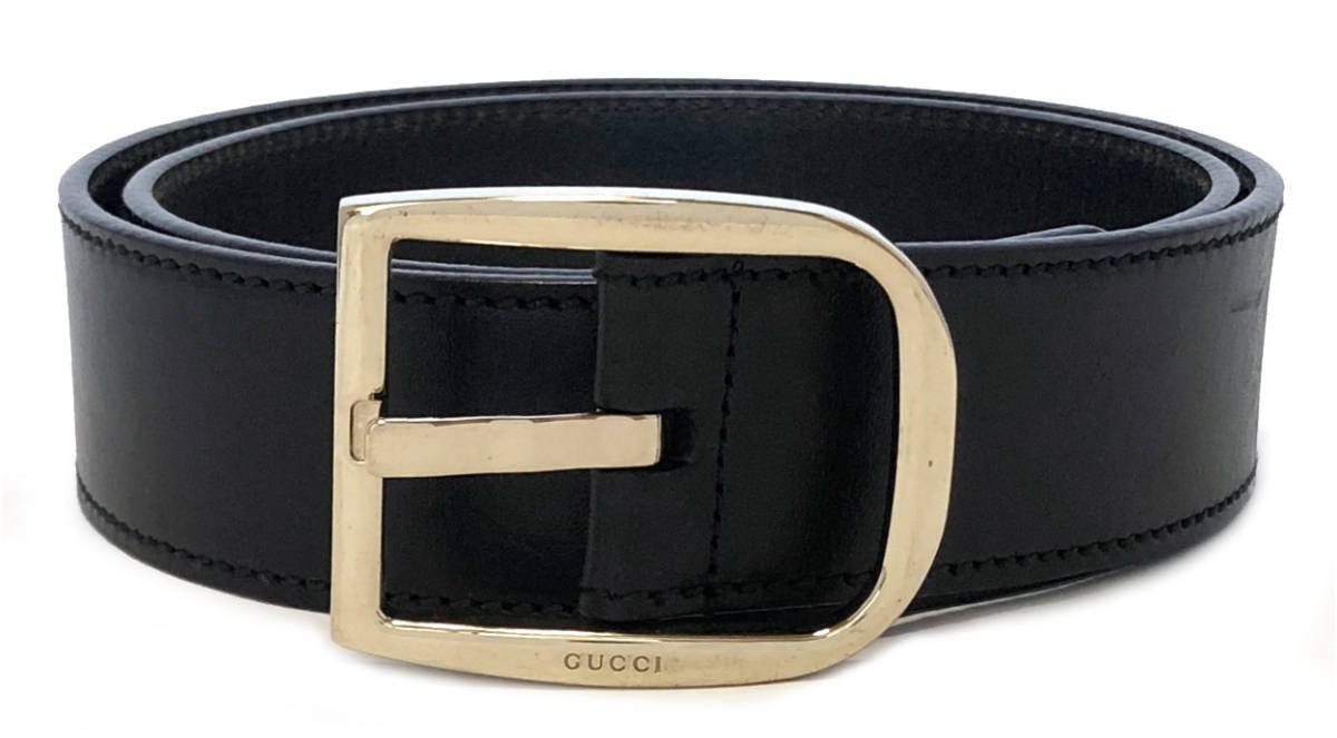 5ccd5b9cb Gucci belt logo buckle black leather black 85cm gold men gap Dis man and  woman combined use gold buckle GUCCI 162934