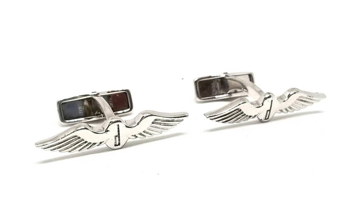 ダンヒル カフス dマーク 羽 つばさ 翼 SV925 シルバー カフリンクス カフスボタン 銀製 dunhill メンズ 紳士用 【中古】