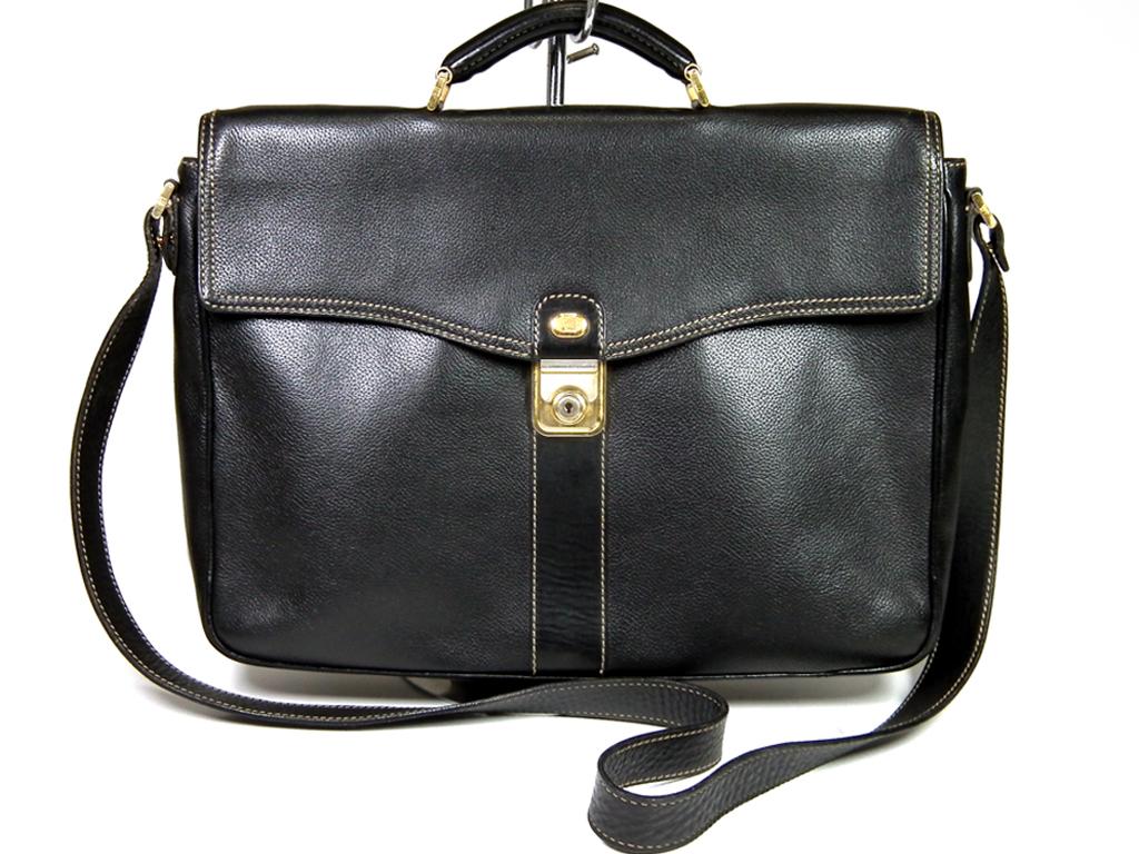 ダンヒル ブリーフケース 型押し レザー 2WAY 書類鞄 ビジネスバッグ ブラック 黒 ショルダーバッグ dunhill  【中古】