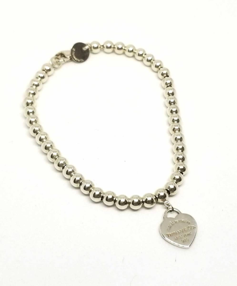 Like New Tiffany Return Toe Beads Bracelet Heart Tag Lady S Silver Sv925