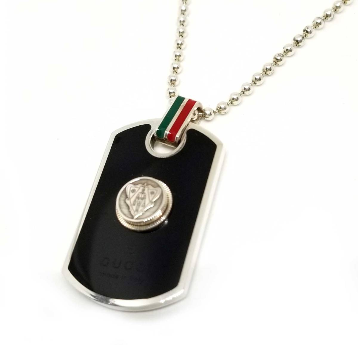 b54498bb3 Gucci necklace dog tag pendant crest 272860 black sherry color silver ball  chain men gap Dis ...