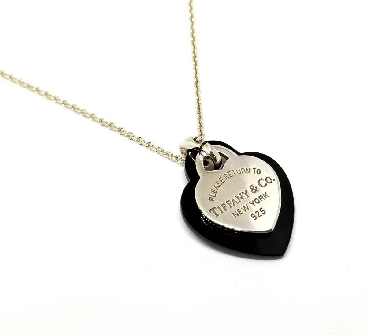 70e97e468e496 Tiffany return toe Tiffany necklace pendant black double heart tag charm  Lady's silver SV925 heart beauty product TIFFANY Tiffany & Co.