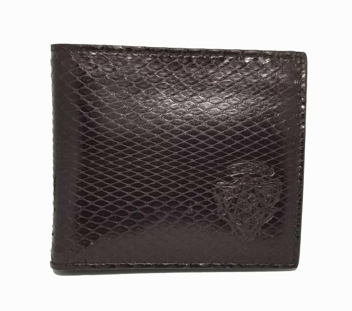 美品 グッチ パイソン 財布 二つ折り メンズ ダークブラウン 茶色 クレスト 紋章 ブラウン 本革 蛇革 GUCCI 【中古】