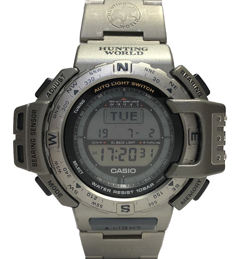 カシオ 時計 プロトレック ハンティングワールド PRT‐420 メンズ 紳士用 チタン グレー 腕時計 メンズウォッチ 軽量 CASIO HUNTING WORLD 【中古】